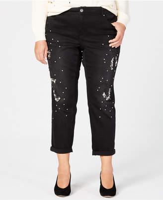 INC International Concepts I.n.c. Plus Size Ripped Rhinestone-Embellished Jeans