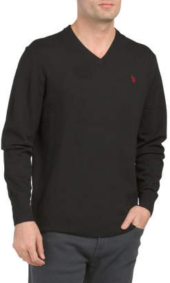Solid V-neck Sweater With Stretch