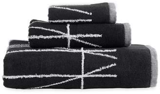 DKNY Black Cotton 'Geometrix' Jacquard Towels