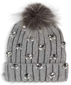 Jocelyn Fox Fur Pompom Embellished Wool Hat