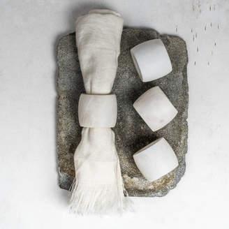 Marquis & Dawe White Marble Napkin Rings Set Of Four