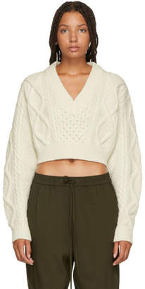 3.1 Phillip Lim White Aran Cable Knit Back Ties Sweater