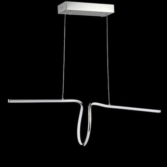 "Jonathan Y Designs Ali 34.5"" Dimmable Adjustable Integrated Led Metal Linear Pendant, Chrome Jonathan Y"