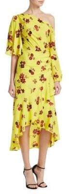 A.L.C. Florence Floral Silk Midi Dress