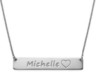 Icon Eyewear Custom Personalized Jewelry Bar Necklace with Heart Custom Made with Any Name!