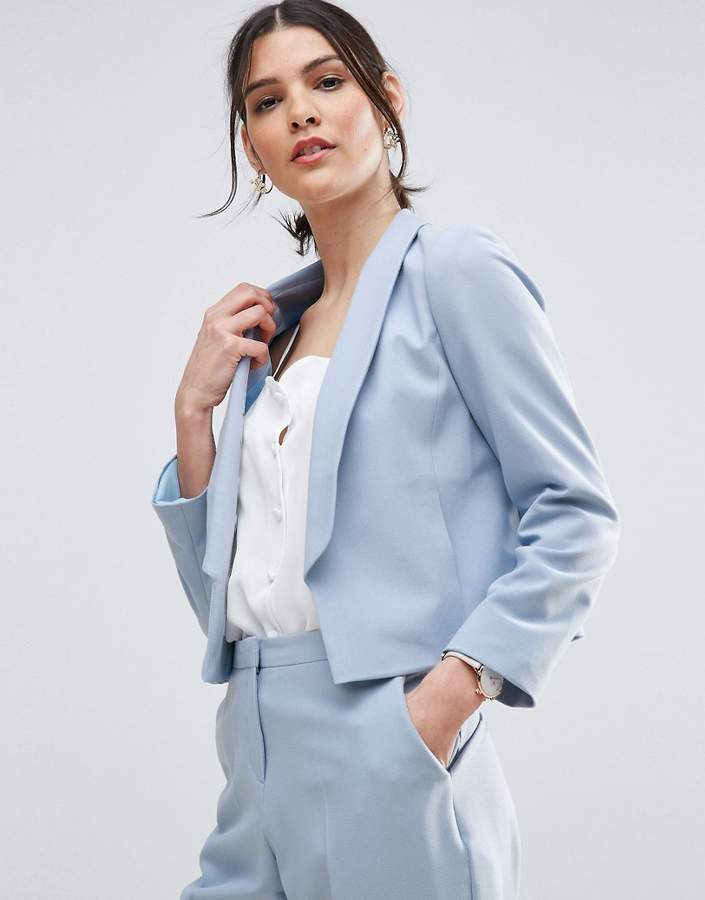 AsosASOS Crop Tailored Blazer in Crepe with Collar Detail