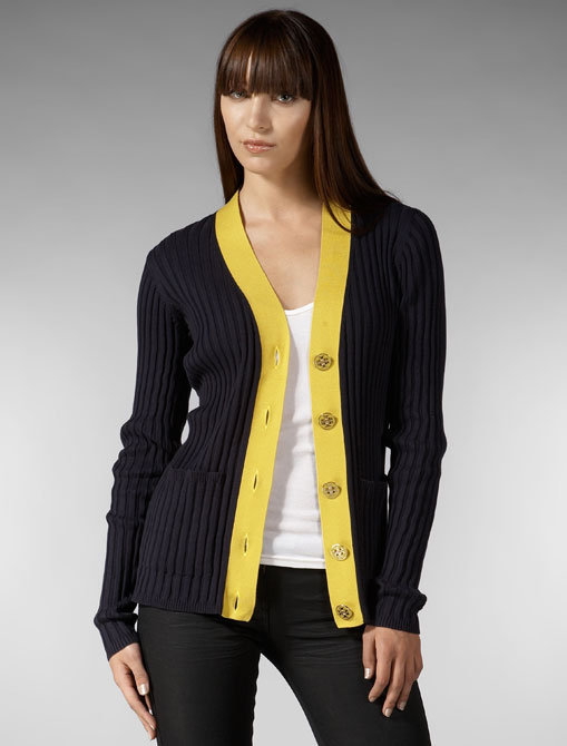 Tory Burch Jeanne Cardigan in Medium Navy/Anise