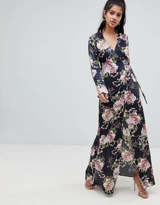 Asos DESIGN satin wrap maxi dress in navy floral print