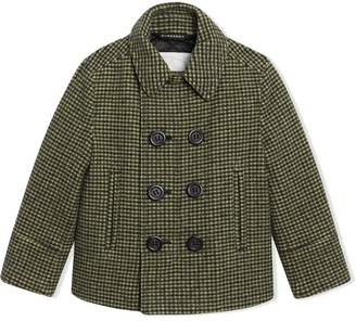 Burberry Check Wool Blend Tailored Coat