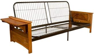 Comfort Style Bayview Attached End Table Style Frame Futon Sofa Sleeper Bed Frame, Queen-size, Medium Oak Arms