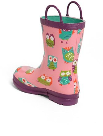 Hatley Toddler Girl's 'Party Owls' Rain Boot, Size 11 M - Pink
