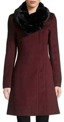 Donna Karan Faux Fur-Collar Wool-Blend Coat