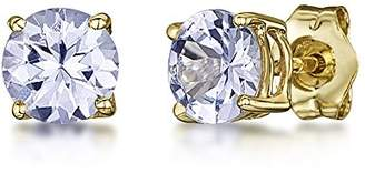 Theia 9ct Yellow Gold Tanzanite Claw Set Stud Earrings
