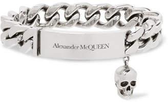 Alexander McQueen Logo-Engraved Silver-Tone ID Bracelet - Men - Silver