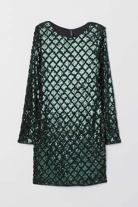 H&M Sequined Velour Dress - Green