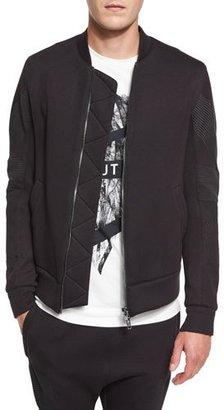 Helmut Lang Channel-Stitch Bomber Jacket, Black $520 thestylecure.com