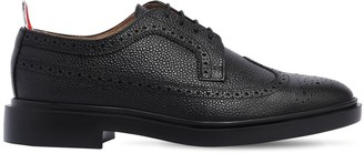 Thom Browne PEBBLED LEATHER WING TIP BROGUE SHOES
