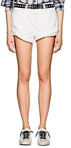 "Alexander Wang Denim x Women's ""Hike"" Distressed Denim Shorts-White"