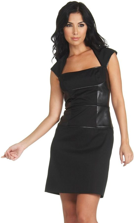 Marc New York Faux-Leather-Detail Dress