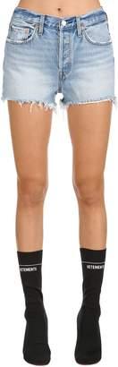 Levi's 501 High Rise Fringed Denim Shorts