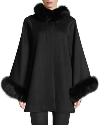 Sofia Cashmere Oversized Fur-Trimmed Hooded Cape