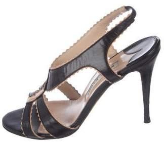 Manolo Blahnik Leather Strap Slingback Sandals
