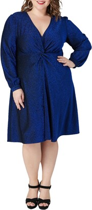 Maree Pour Toi Shimmer Long Sleeve Fit & Flare Dress