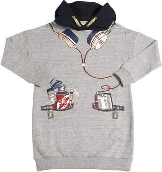 Little Marc Jacobs Hooded Cotton Sweatshirt Dress