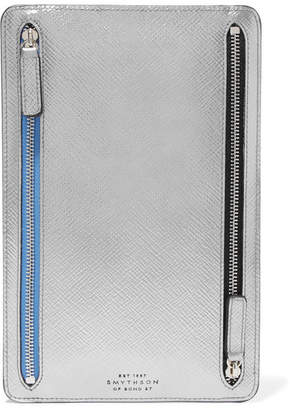 Smythson Panama Metallic Textured-leather Wallet - Silver
