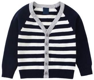 Lee Evelin EvelinLEE Baby Boys Basic Long Sleeve Knit Striped Cardigan Sweater Navy Blue 2