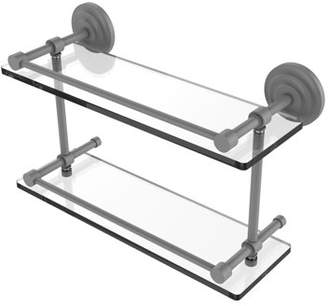 Q.U.E Allied Brass New 16 Inch Double Glass Shelf with Gallery Rail