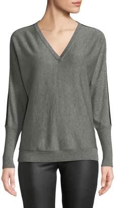 Lafayette 148 New York V-Neck Striped Dolman-Sleeve Metallic Cashmere Sweater
