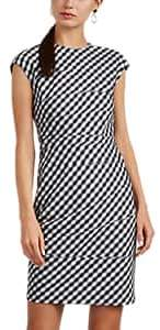 Narciso Rodriguez Women's Gingham-Weave Wool Fitted Sheath Dress - White, Blk