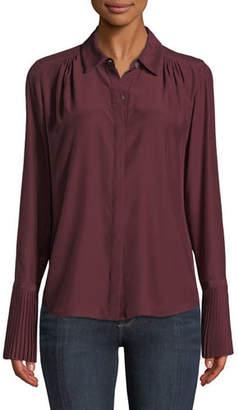 Frame Long-Sleeve Pintuck Button-Front Silk Blouse