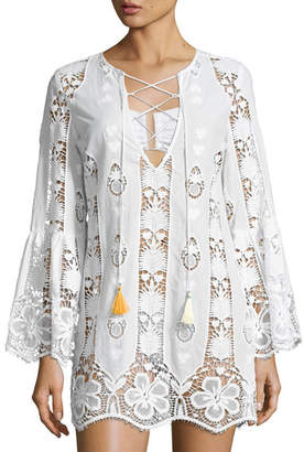 Miguelina Karla Lace-Up Hibiscus Coverup Dress, Pure White