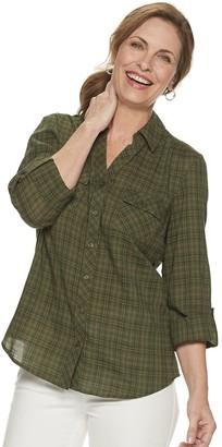 Croft & Barrow Women's Plaid Popover Shirt