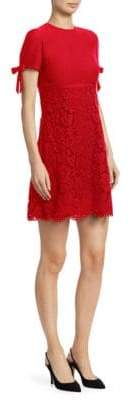 Valentino Bow-Sleeve Virgin Wool& Silk Lace A-Line Dress