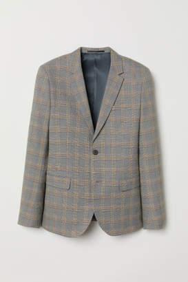 H&M Skinny Fit Checked Blazer - Yellow