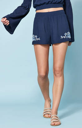 KENDALL + KYLIE Lottie Moss Smocked Embroidered Shorts