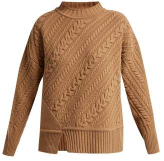 Max Mara Diagonal Knitted Virgin Wool Sweater - Womens - Camel