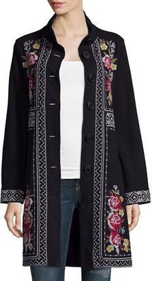 JWLA For Johnny Was Joy Embroidered Military Coat $280 thestylecure.com
