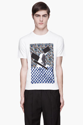 Raf Simons White and blue inset Boy on Fence Print t-shirt