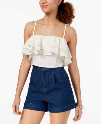 Material Girl Juniors' Ruffled Flounce Crop Top