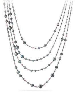 David Yurman Oceanica Pearl and Bead Link Necklace with Grey Pearls and Hematine