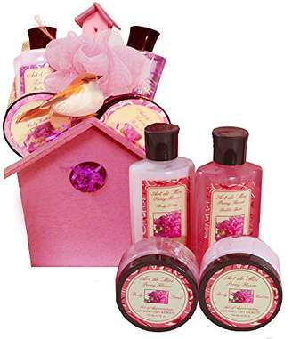 A Little Birdy Told Me Spa Bath and Body Set Gift Basket (Peony Scented) 6 Piece Kit with Shower Gel