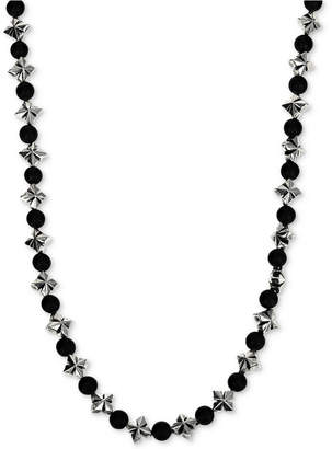 "King Baby Studio Men's Onyx (4mm) & Celtic Cross 24"" Statement Necklace in Sterling Silver"