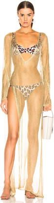 Caroline Constas Mesh Knit Cover Up in Gold | FWRD