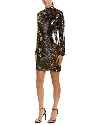 Dress the Population Women's Janis Mock High Neck Long Sleeve Sequin Mini