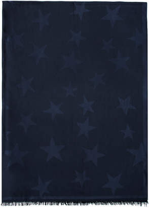 Stella McCartney Navy Silk Stars Scarf