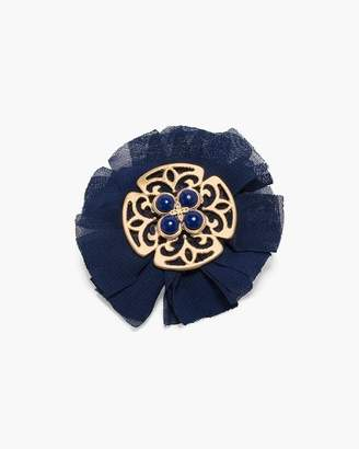 Chico's Chicos Blue and Gold-Tone Flower Pin